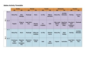 Babies Activity Timetable